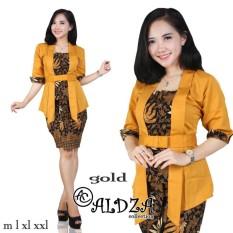 Cj collection Stelan batik atasan blouse abaya kebaya kutubaru dan rok span pendek wanita jumbo blus shirt mini skirt Anjela - gold