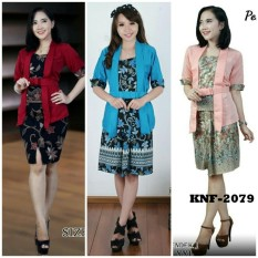 Cj collection Stelan batik atasan blouse abaya kebaya kutubaru dan rok span pendek wanita jumbo blus shirt mini skirt Anjela - RED