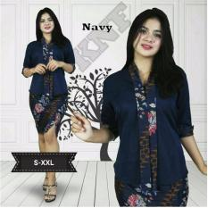 Beli Cj Collection Stelan Batik Atasan Blouse Abaya Kebaya Kutubaru Dan Rok Span Pendek Wanita Jumbo Shirt Mini Skirt Stela Navy Dress Midi Asli