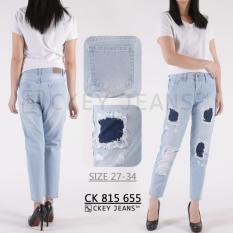 Ckey Celana Panjang Wanita 8/9 Boyfriend Ripped Jeans 655 - Sobek Tidak Tembus Kulit