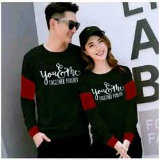 CL-sweater pasangan YOUME FOREVER BLACK MAROON (pria+wanita)  FASHION COUPLE  BAJU KAPEL  SWEATER KEMBARAN  BAJU PASANGAN
