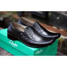 CLARK Catenzo Sepatu Formal Pantofel PDH Kerja Kantor Kulit Asli Best Seller Pria - Hitam
