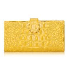 Klasik Pola Buaya Cowhide Leather Long Wanita Dompet Kulit Asli Japanned Dompet Wanita (Kuning)