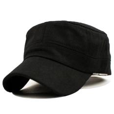 Taruna Militer Angkatan Darat Dataran Klasik Vintage Gaya Topi Katun Topi Yg Dpt Mengatur Hitam