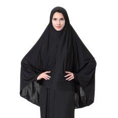Klasik Polyester Long Gaya Breathable Plain Jilbab untuk Wanita-Intl