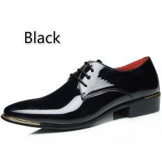 Pria Klasik Dress Flat Sepatu Mewah Pria Usaha Oxfords Sepatu Casual (Hitam)