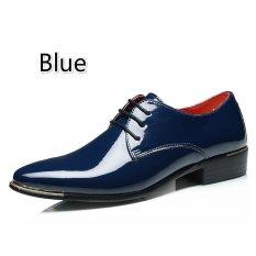 Pria Klasik Dress Flat Sepatu Mewah Pria Usaha Oxfords Sepatu Casual (Biru)
