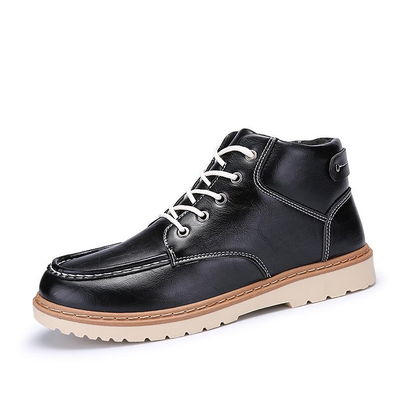 Classical Men Outdoor Motorcycle Boots High Quality Wing Shoes Oxfords Fashion Genuine Leather Dark Red Ankle Boots - intl