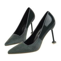 CLASSICS Women's Dangkal Kantor Baru Tiba Sepatu Plush Kulit Menunjuk Toe Wanita Pumps Fashion High Heels
