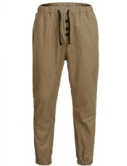 Clearance Price Astar Men Active Drawstring Waist Button Solid Casual Jogger Pants(Khaki) - intl