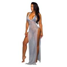 Clearance Harga Sunweb Wanita Tanpa Lengan Panjang Sisi Split Shimmer Baju Penutup Bikini-Up Slim Pakaian Renang Pantai (Abu-abu)-Intl