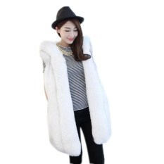 Harga Clearance Sunweb Wanita Musim Dingin Modis Bertudung Tak Berlengan Polos Hangat Tiruan Bulu Rompi Mantel Pakaian (Putih)-Internasional