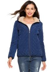 Harga Clearance Sunwonder Wanita Bertudung Ringan Musim Dingin Down Jaket Tipis Mantel dengan Lapisan Bulu Domba (Biru) -Internasional