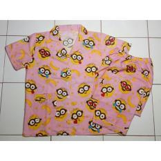Cloth.88 Baju Tidur Piyama Wanita Setelan Celana Panjang Motif Papoy Minion - Pink