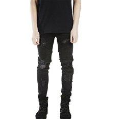 Review Perancang Busana Celana Slp Biru Hitam Hancur Mens Slim Denim Jeans Lurus Biker Skinny Jeans Men Ripped Jeans Intl Not Specified