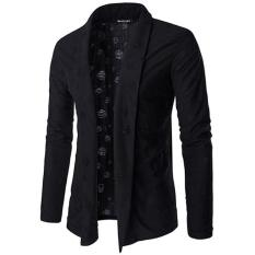 Harga Clothingloves Kemeja Kasual Lengan Panjang Katun Campuran Kelepak Kardigan Rajut Kasual Pria Sweater Hitam Intl Satu Set