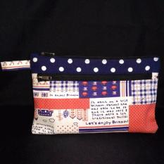 Model Clutch Handbag Double Zipper Kanvas Motif Grade A Terbaru
