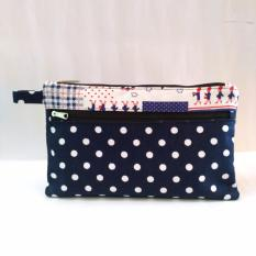 Clutch Handbag Double Zipper Polkadot Navy Blue Mewahsouvenir Diskon