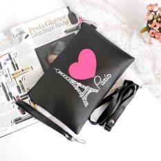 Clutch Wanita Paris Love - Hitam
