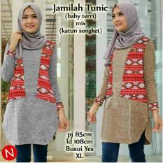 cn 48539 jamilah tunic tunik batik etnik songket atasan top blouse abu lengan panjang simple elegan wanita murah gaul modis modern jumbo bigsize