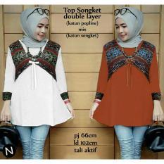 cn 58360 top songket atasan blouse tunik kemeja batik songket etnik putih lengan panjang wanita murah gaul hijab muslim modis modern simple elegan