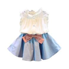 CNB2C 2PCS Toddler Kids Baby Girls Outfit Clothes Vest T-shirt+Bowknot Short Skirt Set - intl