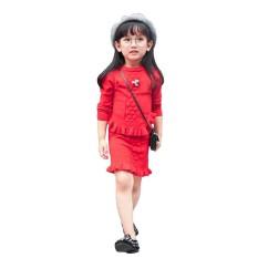 CNB2C Balita Anak-anak Pakaian Baju Anak-anak Pakaian Rajutan Sweater Pullovers Atasan + Rok Set-Internasional