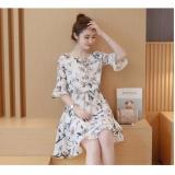 Review Terbaik Cocoepps Plus Ukuran S 4Xl Antik Motif Bunga Wanita Korea Partysu Dicetak Gaun Chiffon Elegan S*xy Fashion A Line Dresses Intl