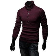 Beli Cocotina Atasan Rajut Pria Langsing Cocok Dipadu Jaket Berkerah Besar Round Lepas Rajut Pakaian Merah Anggur Terbaru