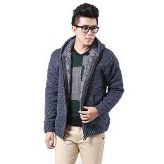 Toko Cocotina Fashion Pria Lapisan Bulu Kerudung Cardigan Rajut Mantel Jaket Berkerudung Biru Hong Kong Sar Tiongkok