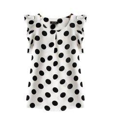 Harga Cocotina Fashion Wanita Blus Leher Bundar Ancak Kain Sutera Tipis Lengan Bang Pendek Kaos T Shirt Hitam Titik Titik Puncak Musim Panas New