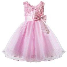 Cocotina Gaya Gadis Putri Mawar Bunga Ikatan Simpul Ikat Tinggi Without Lengan Formal Singkat Pesta Pernikahan Gadis Pengiring Pengantin Gaun Tutu (Berwarna Merah Muda)