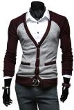 Diskon Cocotina Pria Leher V Lengan Panjang Kasual Atasan Sweater On Kardigan Kancing Abu Abu Muda And Merah Anggur