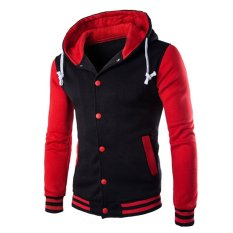 Cocotina Menstruasi Remaja Lengan Panjang Berkerudung Jaket Bisbol Kerudung Slim Fit Kasual Jaket Olahraga Sweatshirt Merah And Hitam Original