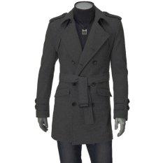 Beli Cocotina Panjang Pria Jas Hujan Jaket Musim Dingin Pakaian Kasual Warna Solid Peacoat Abu Abu Gelap Cocotina Dengan Harga Terjangkau