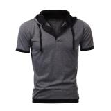 Jual Cocotina Pria Atasan Lengan Pendek Ramping Berkerudung Sweatshirt Gym Hoodie Santai Tee T Shirt Abu Abu Dan Hitam Satu Set
