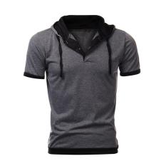 Ulasan Lengkap Tentang Cocotina Pria Atasan Lengan Pendek Ramping Berkerudung Sweatshirt Gym Hoodie Santai Tee T Shirt Abu Abu Dan Hitam