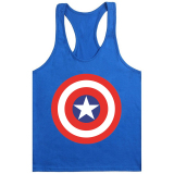 Dapatkan Segera Cocotina Mens Stylish Singlet Tank Top Bodybuilding Gym Fitness Vest Star Dicetak T Shirt Tee Casual Athletic Apparel Royal Blue