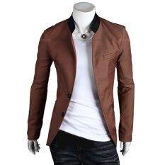 Spesifikasi Cocotina Warna Solid Pria Langsing Sehat Dua Kancing Jas Jaket Blazer Kasual Bisnis Unta Murah