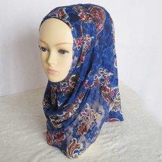 Cocotina Antik Motif Bunga Kerudung Muslim Jilbab Islam Selendang Tudungs-Royal Blue-Intl