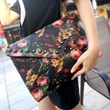 Harga Cocotina Vintage Wanita Paku Keling Handbag Flower Oil Painting Amplop Bag Shoulder Bag Purse Original