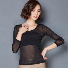 Jual Cocotina Wanita Atasan Lengan Panjang Tipis Tembus Pandang Baju Blus Leher Bulat Jala Tee Hitam Ori