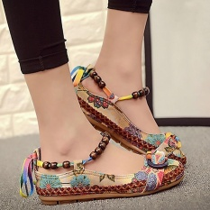 Colorful Dangkal Flat Be Believed Sepatu Tunggal With Bordir Renda untuk Wanita, China English. Sandles