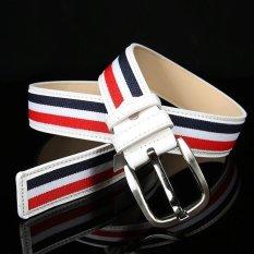 Obral Colorful Stripes Wanita Sabuk Kulit Biru Intl Murah