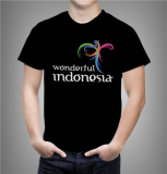 Jual Combed 20S Kaos Wonderful Indonesia 2 Warna Hitam Branded