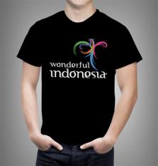 Harga Combed 20S Kaos Wonderful Indonesia 2 Warna Hitam Baru Murah