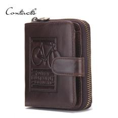 CONTACT'S Pria Kulit Asli Dompet Pemegang Kartu Luxury Purse Designer Bisnis Berkualitas Tinggi Mini Wallet (Dark Brown) -Intl