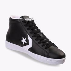 Jual Converse Pro Leather Mid Cut Men S Sneakers Shoes Hitam Online Indonesia