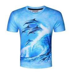 Obral Cool Cool Pria Musim Panas 3D Dolphin Digital Print Leisure T Shirt Lengan Pendek Intl Murah