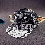 Jual Beli Cool Men Women Scrawl Graffiti Hat Hip Hop Kpop Snapback Baseball Cap Adjustable Black Intl